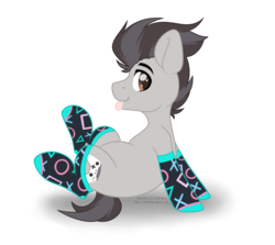 Size: 4584x4091 | Tagged: artist:hellishprogrammer, clothes, cute, earth pony, heart eyes, icey-verse, magical gay spawn, male, oc, oc:keith (ice1517), oc only, offspring, parent:button mash, parent:rumble, parents:rumblemash, playstation, pony, raised hoof, safe, simple background, sitting, socks, solo, stallion, tongue out, transparent background, wingding eyes, ych result