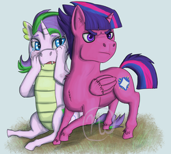 Size: 2000x1800 | Tagged: safe, artist:azurllinate, oc, oc only, oc:dazzle shield, oc:prince dazzle shield, oc:spiral twinkle, alicorn, dracony, half-dragon, hybrid, best friends, blue eyes, cloven hooves, colt, crying, defending, ear fluff, female, filly, foal, half-unicorn, interspecies offspring, male, mixed breed, multicolored hair, oc x oc, offspring, parent:flash sentry, parent:rarity, parent:spike, parent:twilight sparkle, parents:flashlight, parents:sparity, protruding teeth, purple eyes, serious, serious face, shipping, sitting, story included, two toned mane, upset, wiping tears