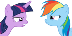 Size: 5895x3002 | Tagged: alicorn, angry, argument, artist:skie-vinyl, duo, female, looking at each other, mare, pegasus, pony, rainbow dash, safe, simple background, testing testing 1-2-3, transparent background, twilight sparkle, twilight sparkle (alicorn), vector