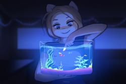 Size: 2126x1417   Tagged: safe, artist:katputze, oc, oc only, fish, tropical fish, anthro, anthro oc, aquarium, female, fish tank, glow, holding, mare, underlighting