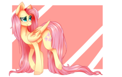 Size: 2466x1564 | Tagged: artist:sodapopfairypony, artist:thefillyfill, collaboration, fluttershy, long mane, long tail, safe, simple background, smiling, solo
