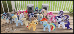 Size: 1600x743 | Tagged: safe, artist:peruserofpieces, apple bloom, applejack, derpy hooves, dj pon-3, fluttershy, octavia melody, pinkie pie, rainbow dash, rarity, scootaloo, starlight glimmer, sweetie belle, twilight sparkle, vinyl scratch, alicorn, earth pony, pegasus, pony, unicorn, trotcon, trotcon 2015, accessories, accessory, bedroom eyes, cutie mark crusaders, equal cutie mark, evil starlight, female, filly, folded wings, group shot, happy, horn, irl, lidded eyes, mane six, mare, photo, plushie, profile, promotional art, record, record player, s5 starlight, self ponidox, smiling, smirk, smug, speakers, spread wings, stereo, sunglasses, toy, turntable, twilight sparkle (alicorn), wings
