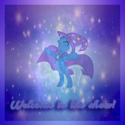 Size: 800x800 | Tagged: safe, trixie, pony, unicorn, album cover, magic, magician outfit, photomanipulation, solo, welcome to the show