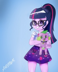 Size: 1535x1896 | Tagged: safe, artist:artmlpk, sci-twi, spike, spike the regular dog, twilight sparkle, dog, equestria girls, equestria girls series, clothes, cute, female, glasses, male, photo, ponytail, puppy, skirt, smiling, spikabetes, spikelove, twiabetes