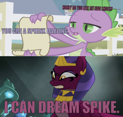 Size: 638x606 | Tagged: safe, edit, edited screencap, editor:undeadponysoldier, screencap, sphinx (character), spike, dragon, sphinx, daring done?, the ticket master, angry, asdfmovie, caption, crack shipping, crown, fangs, female, fence, image macro, jewelry, male, open mouth, reference, regalia, scroll, shipping, smartass, sphike, straight, teeth, text, wrong aspect ratio