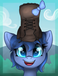 Size: 608x801 | Tagged: safe, artist:duop-qoub, artist:wenni, oc, oc only, oc:whinny, pony, boot, bow, bust, cloud, collaboration, cute, female, floppy ears, hair bow, happy, looking at you, mare, shoe on head, sky, smiling, solo