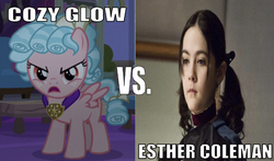 Size: 641x377 | Tagged: safe, edit, edited screencap, editor:undeadponysoldier, screencap, cozy glow, human, pegasus, pony, angry, caption, cozy glow is not amused, esther coleman, female, filly, foal, freckles, image macro, irl, irl human, medallion, movie, orphan (movie), photo, pigtails, text, vs., wrong aspect ratio