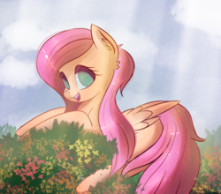 Size: 2092x1842 | Tagged: safe, artist:autumnvoyage, fluttershy, pegasus, pony, cloud, crepuscular rays, cute, ear fluff, female, flower, happy, mare, missing cutie mark, no pupils, plant, shyabetes, sky, solo