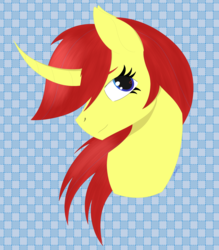 Size: 1780x2032 | Tagged: safe, artist:dyonys, derpibooru exclusive, oc, oc:maya yamato, pony, unicorn, abstract background, bust, curved horn, horn, solo, wingding eyes