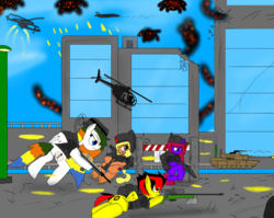 Size: 1891x1502 | Tagged: safe, artist:tuxrap, oc, oc only, pegasus, pony, unicorn, gun, helicopter, lineart, tank (vehicle), weapon