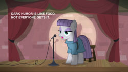 Size: 1280x720 | Tagged: safe, edit, edited screencap, screencap, maud pie, earth pony, pony, the maud couple, dark comedy, female, mare, maud the comedian, microphone, solo, spotlight, stand-up comedy