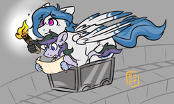 Size: 5000x3000 | Tagged: artist:ruef, hippogriff, leonine tail, map, minecart, minecraft, oc, oc:delta dart, oc only, oc:vintage collection, patreon, patreon reward, safe, size difference, talons