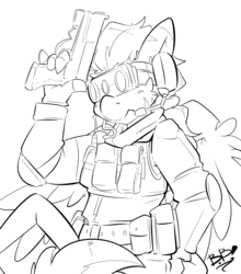 Size: 1763x2000 | Tagged: safe, artist:bbsartboutique, oc, oc only, oc:zerstörer, oc:zulu, hippogriff, original species, zebragriff, clothes, gun, headset, leonine tail, monochrome, night vision goggles, patreon, patreon reward, solo, tacticool, talons, vest, weapon, zerb