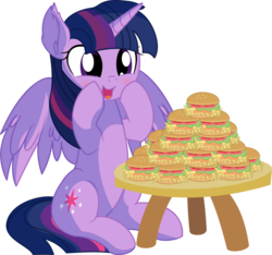 Size: 6655x6224 | Tagged: safe, artist:cyanlightning, twilight sparkle, alicorn, pony, .svg available, absurd resolution, blushing, burger, cute, ear fluff, eating, female, food, hay burger, mare, open mouth, simple background, sitting, solo, table, that pony sure does love burgers, this will end in weight gain, transparent background, twiabetes, twilight burgkle, twilight sparkle (alicorn), vector