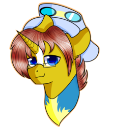 Size: 842x949 | Tagged: safe, artist:rainbowtashie, caboose, full steam, promontory, silver lining, silver zoom, sunburst, oc, oc:heartstrong flare, alicorn, pony, alicorn oc, clothes, commissioner:bigonionbean, conductor hat, facial markings, fusion, fusion:heartstrong flare, glasses, goggles, male, stallion, uniform, wonderbolt trainee uniform, wonderbolts
