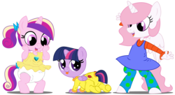 Size: 11000x6000 | Tagged: age regression, alicorn, angelica pickles, anthro, artist:evilfrenzy, babies, baby, butt flap, cewestia, cute, diaper, dil pickles, female, filly, foal, onesie, pink-mane celestia, princess cadance, princess celestia, rugrats, safe, simple background, twilight sparkle, twilight sparkle (alicorn), voice actor joke, younger