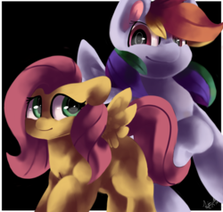 Size: 1280x1219 | Tagged: safe, artist:penpale-heart, fluttershy, rainbow dash, pegasus, pony, black background, duo, female, floppy ears, hair over one eye, looking at each other, mare, missing cutie mark, raised hoof, simple background, smiling