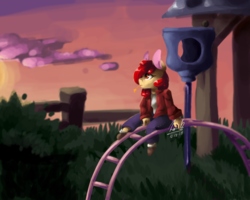 Size: 1280x1026 | Tagged: safe, artist:penpale-heart, apple bloom, anthro, unguligrade anthro, clothes, female, jacket, missing accessory, pants, playground, shirt, sitting, solo, straw in mouth, twilight (astronomy)