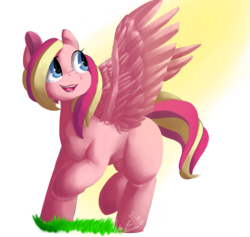 Size: 1280x1211 | Tagged: safe, artist:penpale-heart, oc, oc only, oc:rose marsh, pegasus, pony, blank flank, crepuscular rays, female, grass, looking back, mare, open mouth, raised hoof, simple background, smiling, solo, spread wings, transparent background, two toned mane, wings