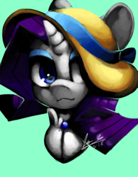 Size: 1280x1643 | Tagged: safe, artist:penpale-heart, rarity, pony, unicorn, bust, clothes, eyeshadow, female, hat, hat over eyes, makeup, mare, simple background, solo