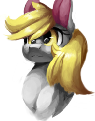 Size: 450x575 | Tagged: safe, artist:penpale-heart, edit, derpy hooves, pony, bust, cropped, eye reflection, female, hair over one eye, mare, reflection, simple background, solo, white background