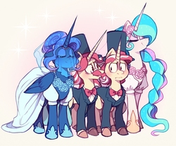 Size: 1024x848 | Tagged: safe, artist:sony-shock, flam, flim, princess celestia, princess luna, alicorn, pony, unicorn, bowtie, brothers, clothes, colored hooves, crack shipping, dress, eyes closed, fanfic, fanfic art, fanfic cover, female, flamluna, flim flam brothers, flimlestia, hat, male, mare, shipping, siblings, simple background, sisters, smiling, stallion, this will not end well, top hat, tuxedo, veil, wedding dress, yellow background