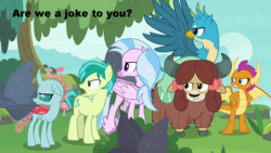 Size: 1280x720   Tagged: safe, edit, edited screencap, screencap, gallus, ocellus, sandbar, silverstream, smolder, yona, changedling, changeling, classical hippogriff, dragon, earth pony, griffon, hippogriff, pony, yak, non-compete clause, angry, bow, cloven hooves, colored hooves, dragoness, female, flying, gallus is not amused, hair bow, jewelry, male, monkey swings, necklace, ocellus is not amused, sandbar is not amused, silverstream is not amused, smolder is not amused, student six, teenager, yona is not amused