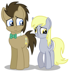 Size: 880x918 | Tagged: safe, artist:mlp-lolada, artist:parclytaxel, derpy hooves, doctor whooves, time turner, earth pony, pegasus, pony, base used, doctorderpy, female, male, mare, shipping, stallion, straight