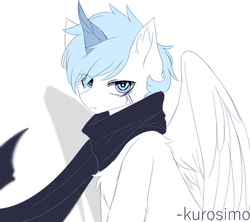 Size: 900x800 | Tagged: safe, artist:heddopen, oc, oc:diamond frost, pegasus, pony, chest fluff, clothes, ear fluff, male, scarf, solo, wings