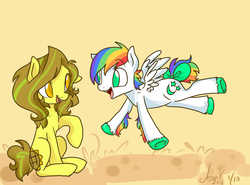 Size: 1000x738 | Tagged: safe, artist:laceymod, oc, oc only, oc:moondust, oc:sunflower, earth pony, pegasus, pony, ask lovelace, bow, female, mare, tail bow