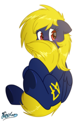 Size: 3000x4500 | Tagged: safe, artist:fluffyxai, oc, oc only, oc:naveen numbers, pegasus, pony, apprehensive, blushing, female, hiding face, hug, laying back, mare, shy, simple background, solo, tail hug, underhoof, white background, wings