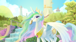 Size: 3840x2160 | Tagged: safe, artist:pencils, princess celestia, alicorn, pony, 4k, crown, cute, cutelestia, eclair, female, food, high res, jewelry, mare, mouth hold, pastry, peytral, regalia, scenery, solo, spread wings, tower, wallpaper, wings
