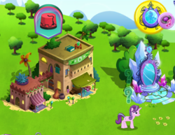 Size: 685x530 | Tagged: safe, starlight glimmer, pony, road to friendship, gameloft, the anonymous campsite