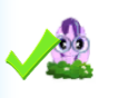 Size: 106x88 | Tagged: safe, starlight glimmer, pony, unicorn, binoculars, check mark, gameloft, picture for breezies