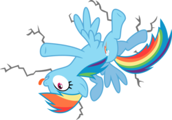 Size: 6000x4189 | Tagged: artist:skie-vinyl, crack, crash, female, mare, ouch, pegasus, pony, rainbow crash, rainbow dash, safe, simple background, solo, tongue out, transparent background, vector, wings