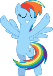 Size: 3721x5352 | Tagged: artist:skie-vinyl, castle sweet castle, cute, dashabetes, eyes closed, flying, hooves up, pegasus, pony, rainbow dash, safe, simple background, smiling, solo, spinning, transparent background, vector, wings