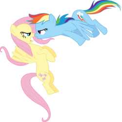 Size: 3999x4000 | Tagged: artist:clashwolf3, faic, female, fluttershy, flying, funny, funny face, imminent kissing, mare, may the best pet win, open mouth, pegasus, pony, rainbow dash, safe, simple background, transparent background, vector, wings