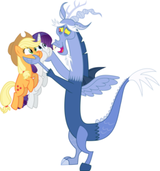 Size: 5004x5349 | Tagged: safe, artist:clashwolf3, applejack, discord, rarity, draconequus, earth pony, pony, unicorn, three's a crowd, blue flu, female, hands on cheeks, holding a pony, male, mare, open mouth, simple background, smiling, squishy cheeks, transparent background, vector
