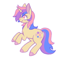 Size: 420x385 | Tagged: safe, artist:horsepaws, oc, oc only, oc:cassiopeia, pony, unicorn, adoptable, colored hooves, female, hooves, hooves up, mare, multicolored hair, solo