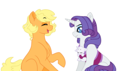 Size: 2956x1676 | Tagged: safe, artist:rosebuddity, applejack, rarity, oc, oc:twilight flare, pony, baby, baby pony, magical lesbian spawn, offspring, parent:rarity, parent:twilight sparkle, parents:rarilight, simple background, transparent background