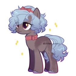 Size: 1500x1500 | Tagged: safe, artist:biitt, oc, oc only, oc:malvina, earth pony, pony, blue mane, bow, choker, collar, colored hooves, female, headband, mare, red eyes, simple background, solo, transparent background, unamused