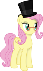 Size: 2700x4500 | Tagged: :<, artist:slb94, classy, cute, dapper, fluttershy, glasses, hat, pegasus, pony, safe, shyabetes, simple background, top hat, transparent background, vector