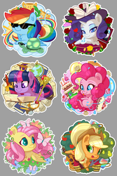 Size: 2880x4320 | Tagged: safe, artist:batonya12561, applejack, fluttershy, gummy, pinkie pie, rainbow dash, rarity, tank, twilight sparkle, alicorn, butterfly, earth pony, pegasus, pony, unicorn, apple, apple tree, balloon, book, bucket, cake, chibi, cloud, cowboy hat, cupcake, cute, female, flower, food, globe, guitar, hat, heart, hooves, horn, ice cream, jam, jar, lying down, mane six, mare, muffin, on a cloud, open mouth, pear, pear tree, pie, pillow, prone, quill, reading, rope, rose, scepter, scroll, smiling, sunglasses, tongue out, tree, twilight scepter, twilight sparkle (alicorn), wings, zap apple, zap apple jam
