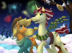 Size: 3850x2800 | Tagged: applejack, applejack's hat, artist:moostargazer, best gift ever, boater hat, clothes, cowboy hat, earth pony, female, fireworks, flim, flimjack, hat, lake, male, new year, outfit, safe, scarf, shipping, snow, straight, tree, unicorn