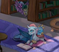 Size: 1297x1153   Tagged: safe, artist:riukime, gallus, ocellus, sandbar, silverstream, changedling, changeling, earth pony, griffon, hippogriff, pony, blushing, book, bookcase, cheek squish, cuddling, cute, dark, diaocelles, diastreamies, eyes closed, female, floppy ears, flying, gallabetes, happy, hoof over mouth, hug, leg fluff, library, lidded eyes, luslus, male, open mouth, peeking, pillow, shipping, sleeping, smiling, snuggling, spread wings, squishy cheeks, straight, wings