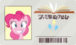 Size: 2600x1538 | Tagged: artist:phucknuckl, food, frosting, inkscape, library card, pinkie pie, safe, spoiler:s09e05, sprinkles, the point of no return, vector