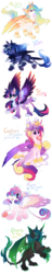 Size: 916x4765 | Tagged: alicorn, alternate design, artist:hioshiru, bubblegum, catlestia, chest fluff, crown, curved horn, cute, cutedance, cutelestia, ear fluff, fangs, female, fluffy, food, gum, horn, jewelry, leg fluff, leonine tail, multicolored hair, paws, princess cadance, princess celestia, princess flurry heart, princess luna, queen chrysalis, regalia, safe, simple background, species swap, sphinx, sphinxified, tail fluff, twilight sparkle, twilight sparkle (alicorn), underpaw, white background