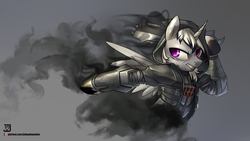 Size: 3840x2160 | Tagged: alicorn, alicorn oc, anthro, anthro oc, armor, artist:jedayskayvoker, clothes, gray background, male, oc, oc:dark tempest, oc only, overwatch, reaper (overwatch), safe, simple background, solo, video game crossover