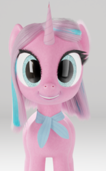 Size: 722x1165 | Tagged: safe, artist:gabe2252, clear sky, pony, unicorn, common ground, 3d, blender, cycles, female, gray background, mare, neckerchief, simple background, solo, that was fast, uncanny valley