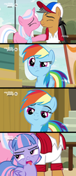 Size: 1280x2940 | Tagged: baseball cap, cap, clear sky, clothes, comic, common ground, earth pony, edit, edited screencap, female, filly, foal, hat, male, mare, nose wrinkle, nuzzling, pegasus, pony, quibble pants, rainbow dash, safe, screencap, screencap comic, shirt, spoiler:s09e06, stallion, unicorn, wind sprint